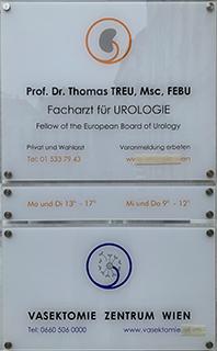 Türschild Vasektomie Zentrum Wien